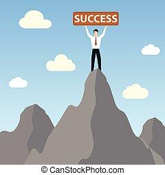 homme affaires tient, sur, pic, montagne, à, reussite, bannière