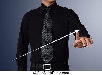homme affaires, toucher, a, levée, flèche, représenter, croissance affaires