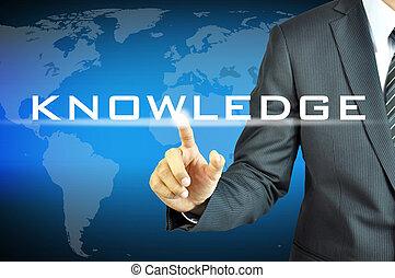 homme affaires, toucher, connaissance, signe, sur, virtuel, écran