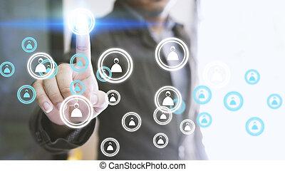homme affaires, toucher, humain, icon., social, réseau, concept