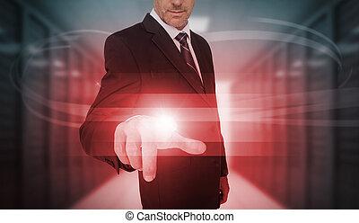 homme affaires, toucher