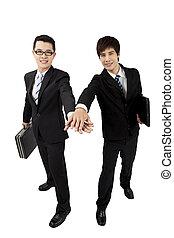 homme affaires, toucher, jeune, mains, asiatique, deux