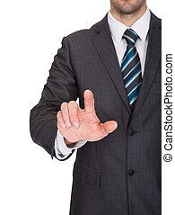 homme affaires, toucher, les, écran