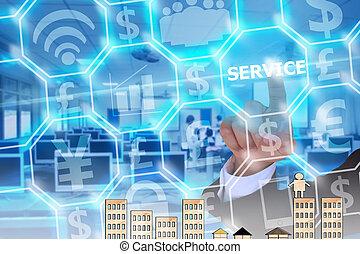 homme affaires, toucher, moderne, service, virtuel, écran