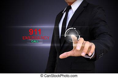 homme affaires, toucher, une, urgence, concept, sur, a, écran tactile, à, sien, doigt