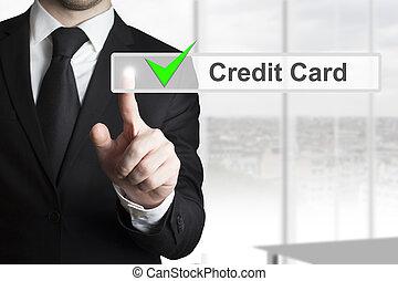homme affaires, touchscreen, pousser, carte, crédit