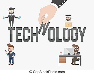 homme affaires, tout, technologie, avoir