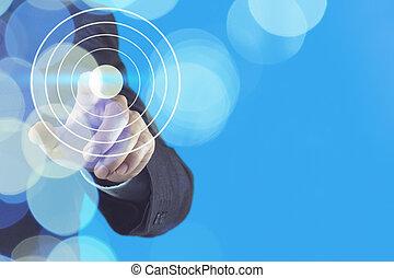 homme affaires, transmettre indiquer, à, cible, symbole, comme, concept affaires