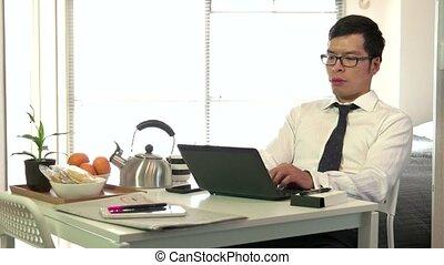homme affaires, travail, affaires asiatiques, homme