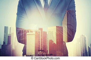 homme affaires, travail, engagement