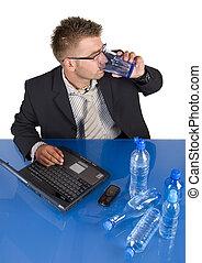 homme affaires, travailler, sien, bureau