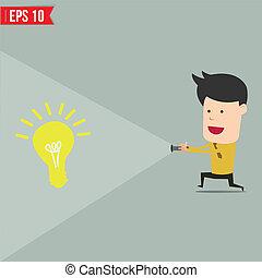 homme affaires, usage, lampe électrique, trouver, une, idée