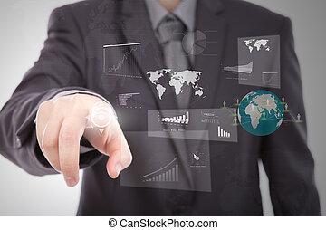 homme affaires, utilisation, a, écran tactile, appareil