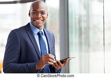 homme affaires, utilisation, noir, pc tablette
