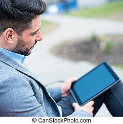 homme affaires, utilisation, pc tablette