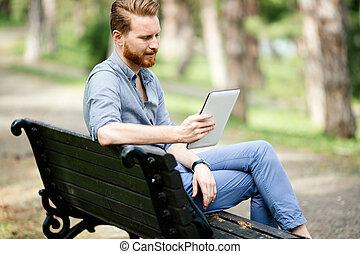 homme affaires, utilisation, tablette, nature
