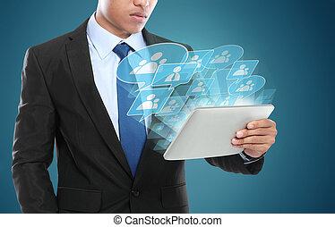 homme affaires, utilisation, tablette, pc., image conceptuelle, de, social, connexion