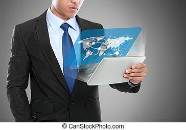 homme affaires, utilisation, tablette, pc., image conceptuelle