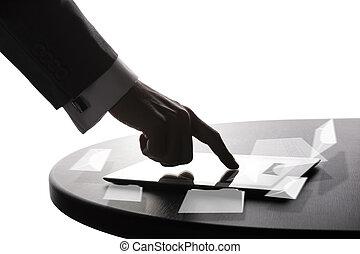 homme affaires, utilisation, tablette,  PC