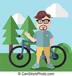 homme affaires, vélo, conception, équitation, plat