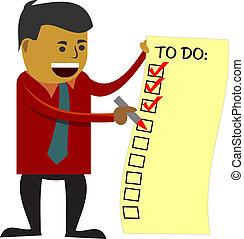 homme affaires, vérification, faire liste