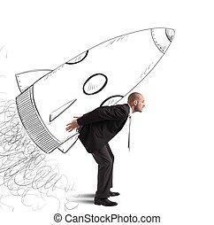 homme affaires, vaisseau spatial