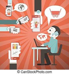 homme affaires, vecteur, bureau, illustration