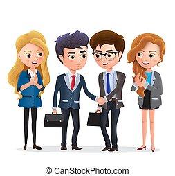 homme affaires, vecteur, characters., caractère, associé, agreement., affaire, business, association