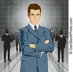 homme affaires, vecteur, complet