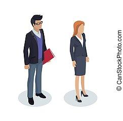 homme affaires, vecteur, fonctionnement, illustration, gens