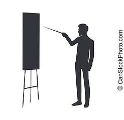 homme affaires, vecteur, illustration, whiteboard