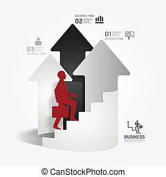 homme affaires, vecteur, papier, ou, style, être, flèche, site web, coupure, gabarit, disposition, infographics, utilisé, boîte, échelle, /, haut, graphique