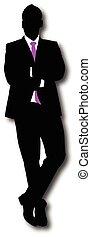 homme affaires, vecteur, silhouette