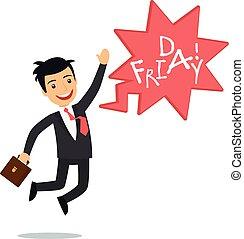 homme affaires, vendredi, heureux