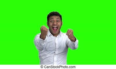 homme affaires, vert, screen., ravi, heureux