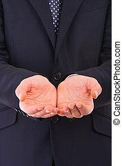 homme affaires, vide, hands., tenue