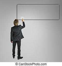 homme affaires, vide, pousser, virtuel, écran, bouton