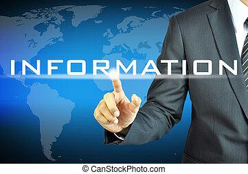 homme affaires, virtuel, écran, signe, information, toucher
