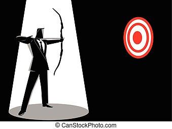 homme affaires, viser, a, rouges, cible, à, flèche