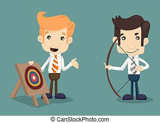 homme affaires, viser, cible, flèche, arc