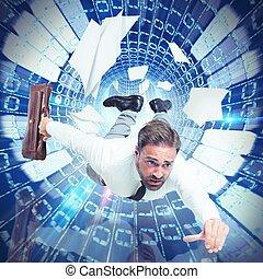 homme affaires, vitesse, internet