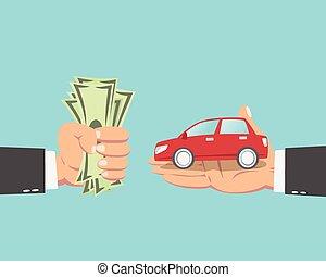 homme affaires, voiture achetante