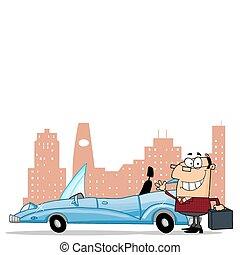 homme affaires, voiture convertible