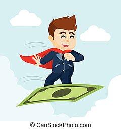 homme affaires, voler, super, argent