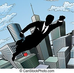 homme affaires, voler, superhero
