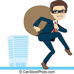 homme affaires, voleur, faillite