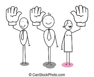 homme affaires, vote, haut, main