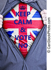 homme affaires, votes, britannique, non