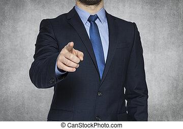 homme affaires, vous, pointage