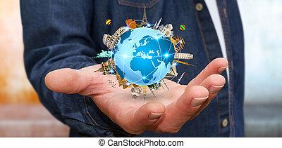 homme affaires, voyager, mondiale